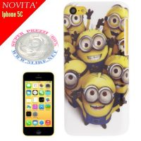 Cover custodia Plastic Case per Iphone 5C di Minions Pattern