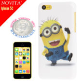 Cover custodia Plastic Case per Iphone 5C Minions Pattern