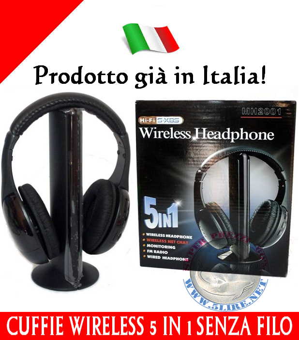 CUFFIA CUFFIE WIRELESS 5 IN 1 SENZA FILO WI-FI PER ASCOLTARE TV RADIO HI 051590a56439