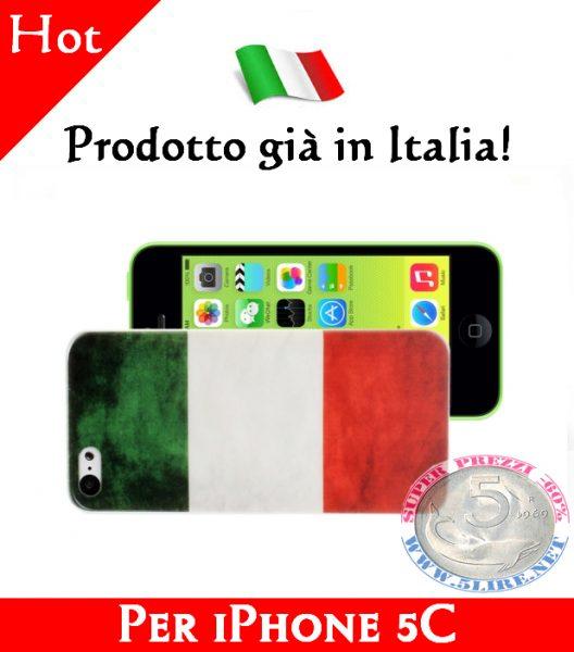 Cover Bumper Case Custodia in plastica per iPhone 5C modello bandiera Italia