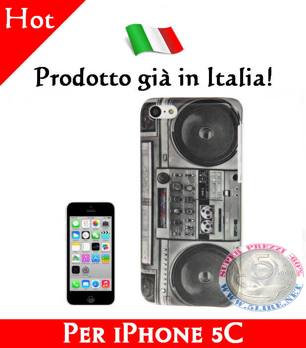 Cover Bumper Case Custodia in plastica per iPhone 5C modello Radio