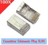 100 Pezzi Connettore Schermato Plug RJ45 per Cavi di rete LAN Ethernet