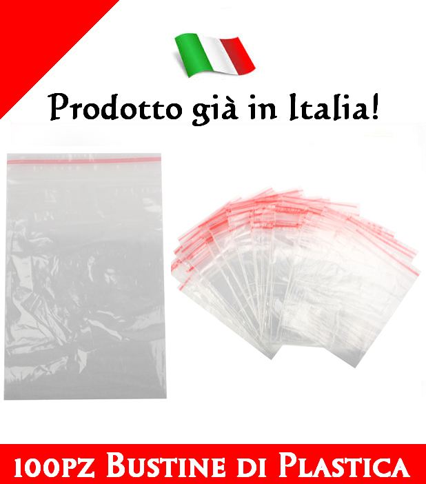 100pz Bustine Sacchetti di Plastica Zip Chiusura a Cerniera Trasparente