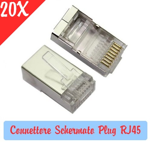 Connettore Schermato Plug RJ45 per Cavi di rete LAN Ethernet