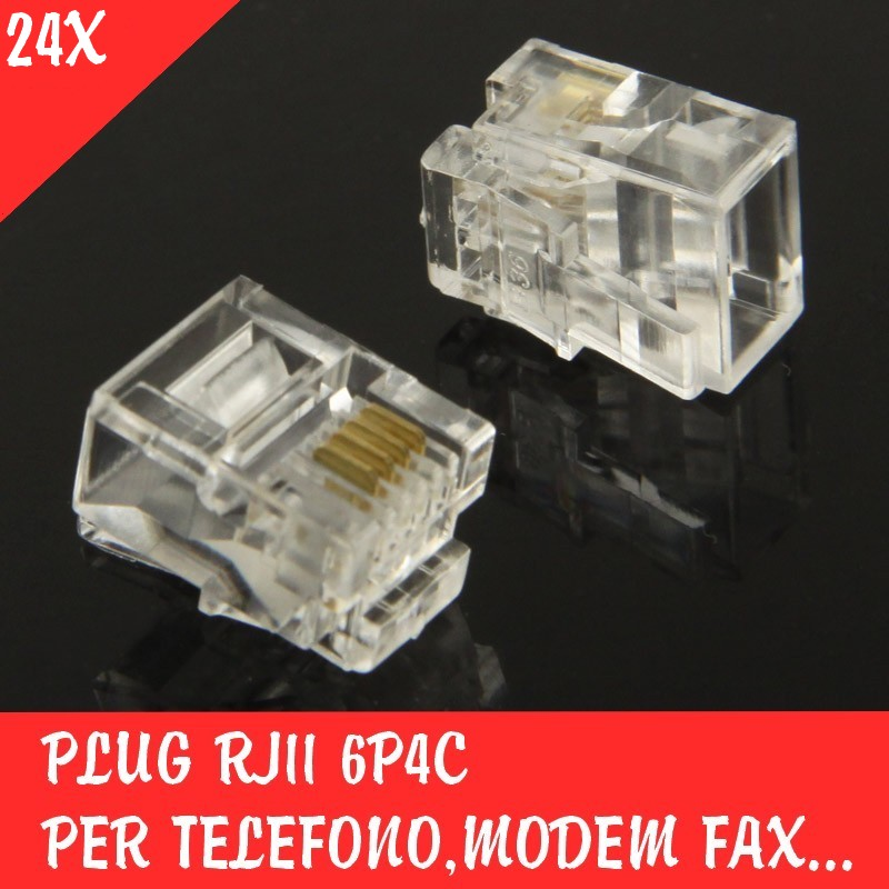 Plug RJ11 6P4C per Telefono Modem Fax Spina Modulare Connettore Spinotto