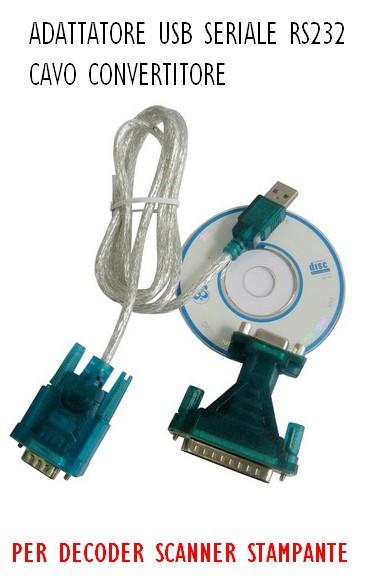 Adattatore Usb Seriale RS232 Cavo Convertitore Decoder Scanner Stampante