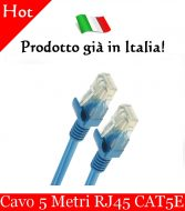 Cavo di Rete Ethernet 5 Metri Rj45 Cat 5e Utp Lan Patch Adsl Switch Router