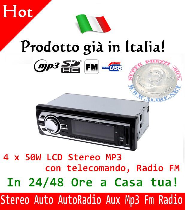 Stereo Auto AutoRadio Aux Mp3 Slot Usb Sd Radio Fm Frontalino Estraibile