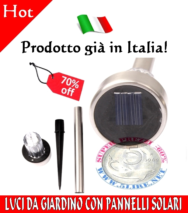 3X Lampade Paletti LED Luci da Giardino con Pannello a Energia Solare Segnapa...