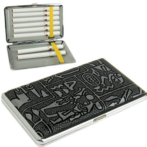 Astuccio Portasigarette in Metallo colore argento tascabile apertura click