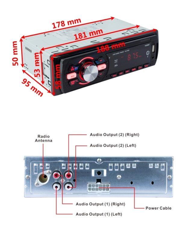 Stereo Bluetooth auto con Radio FM e Ingresso USB