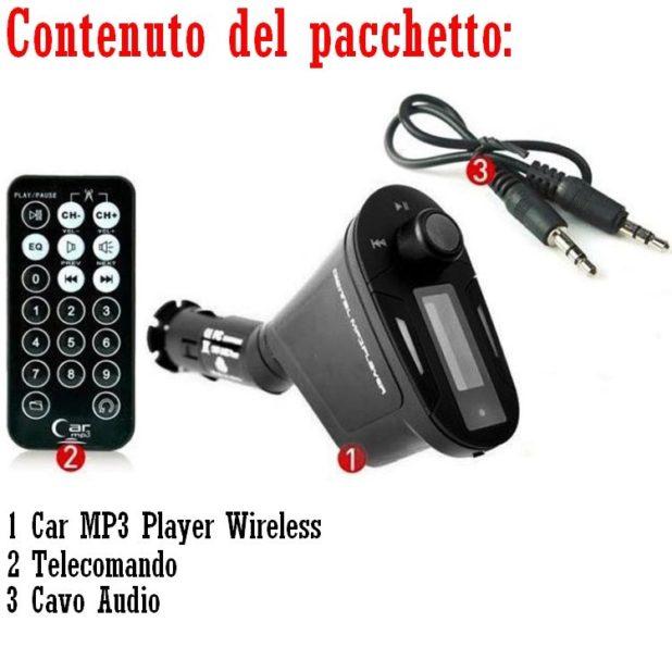 Bluetooth Auto, Viva voce, caricatore USB, Lettore Mp3